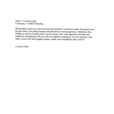Aabco Roofing Testimonials